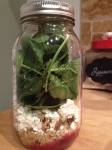 beet walnut quinoa spinach mason jar salad